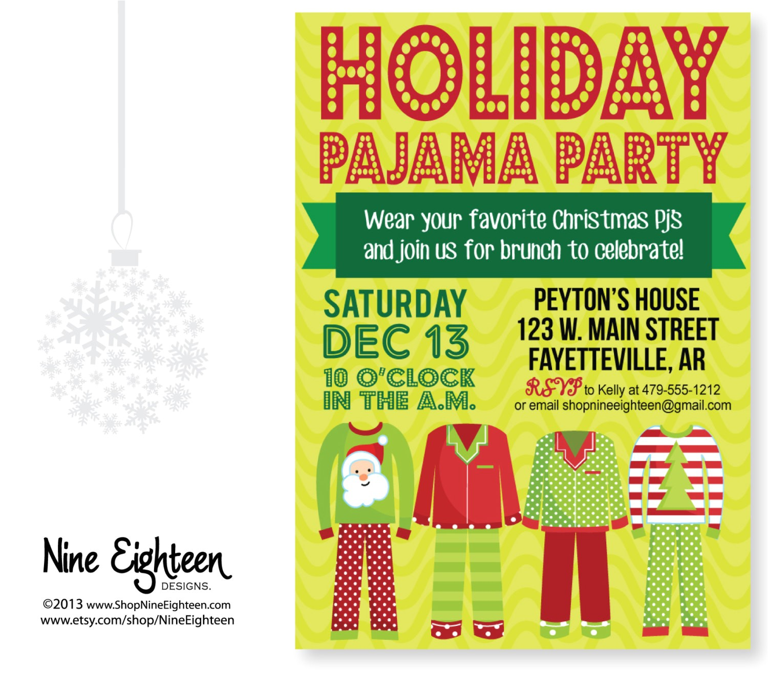 christmas pajama party invitation custom