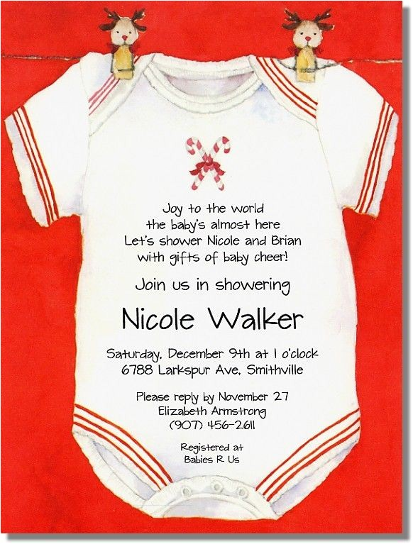 Christmas themed Baby Shower Invitations Christmas Esie Baby Shower Invitations