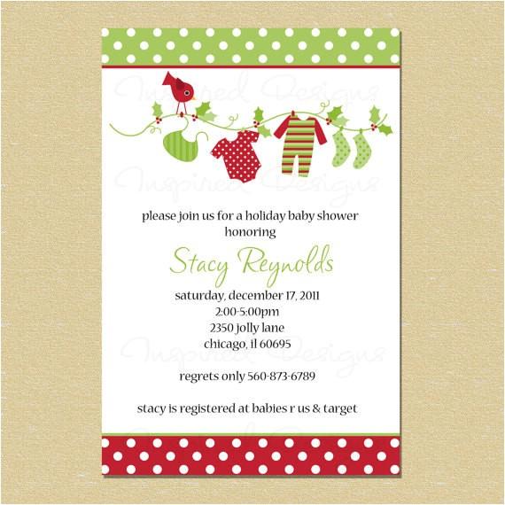 christmas holiday baby shower invitation