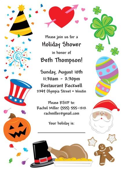 bridal shower holiday theme invitation