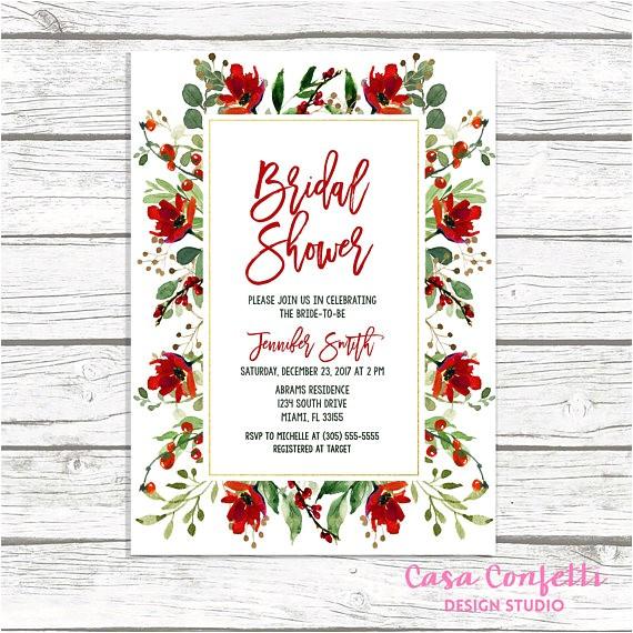 christmas bridal shower invitation holly bridal