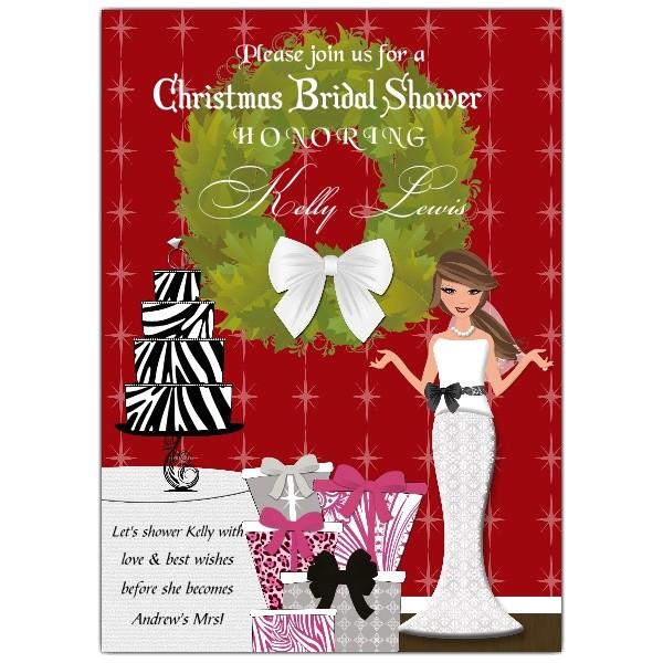 Christmas Bride Brunette Bridal Shower Invitations p 606 57 BRS01 BRH