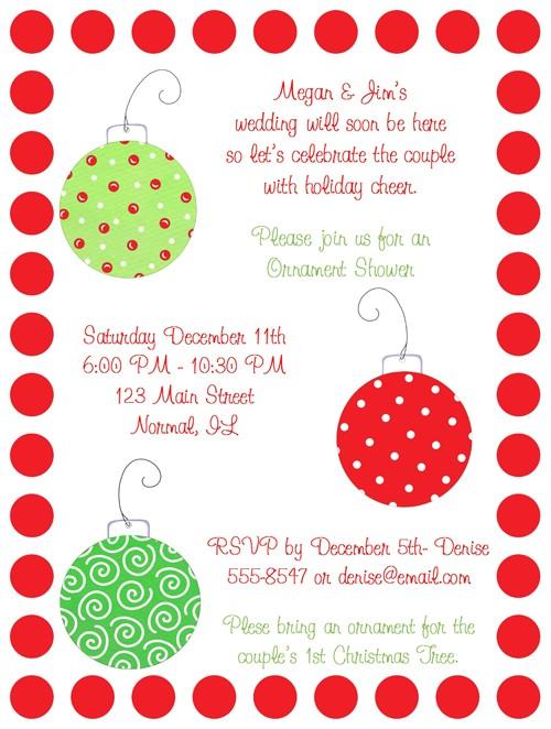Christmas Ornaments Bridal Shower Invitations