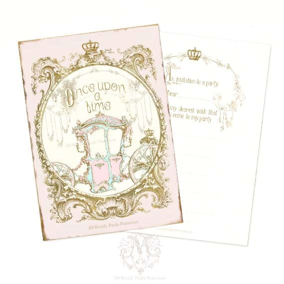 once upon a time invitations cinderella