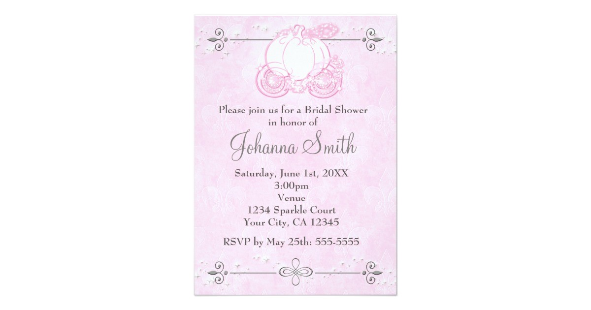 cinderella carriage pink bridal shower invitation