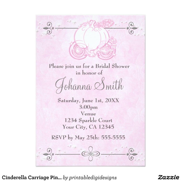 Cinderella Carriage Bridal Shower Invitations Cinderella Carriage Pink Bridal Shower Invitation