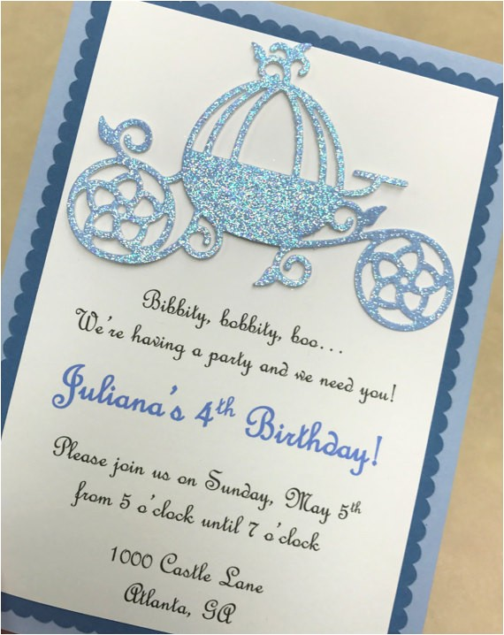 princess carriage birthday party invitation 2