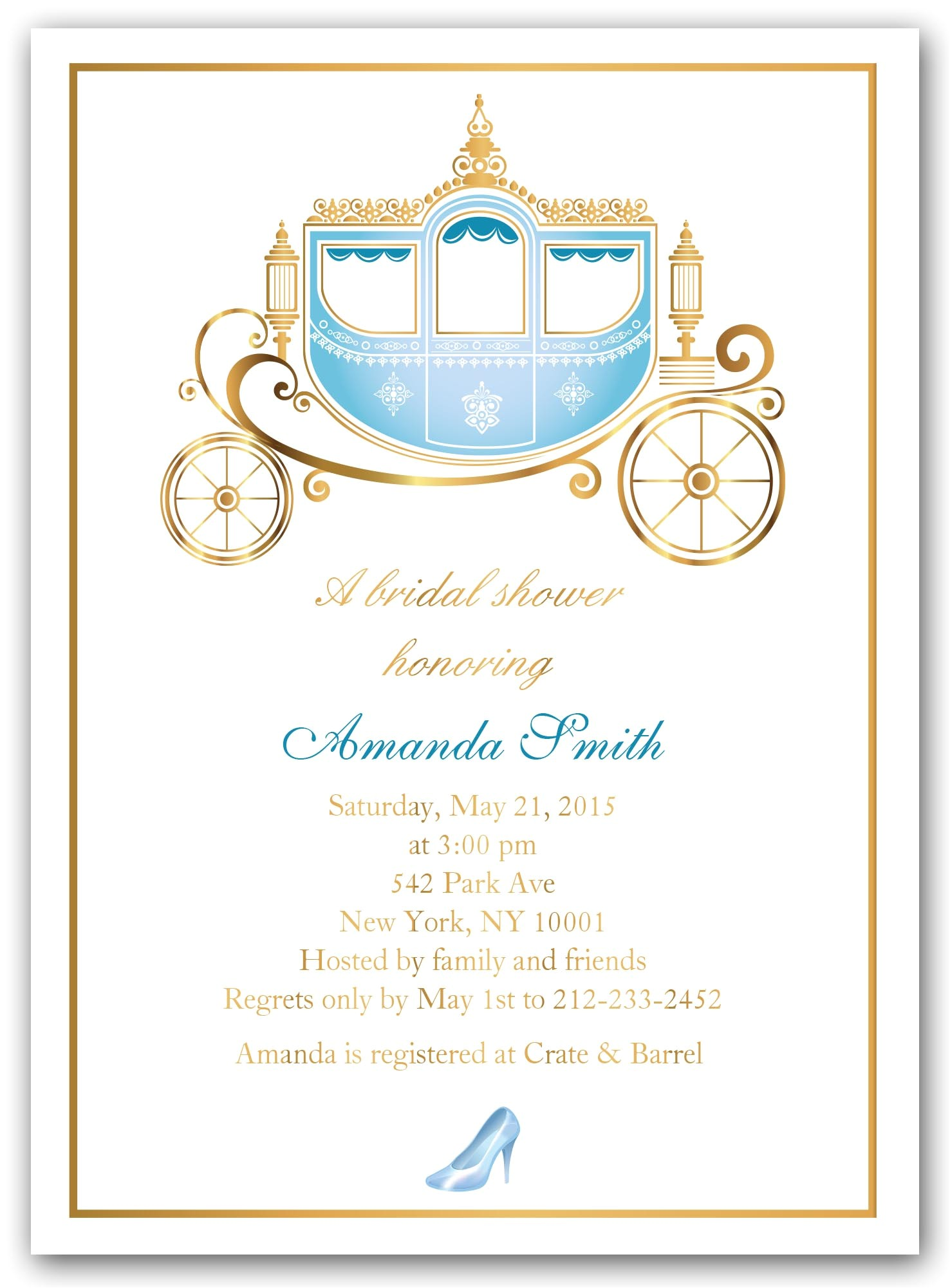 Cinderella themed Bridal Shower Invitations Bridal Shower Invitations Bridal Shower Invitations