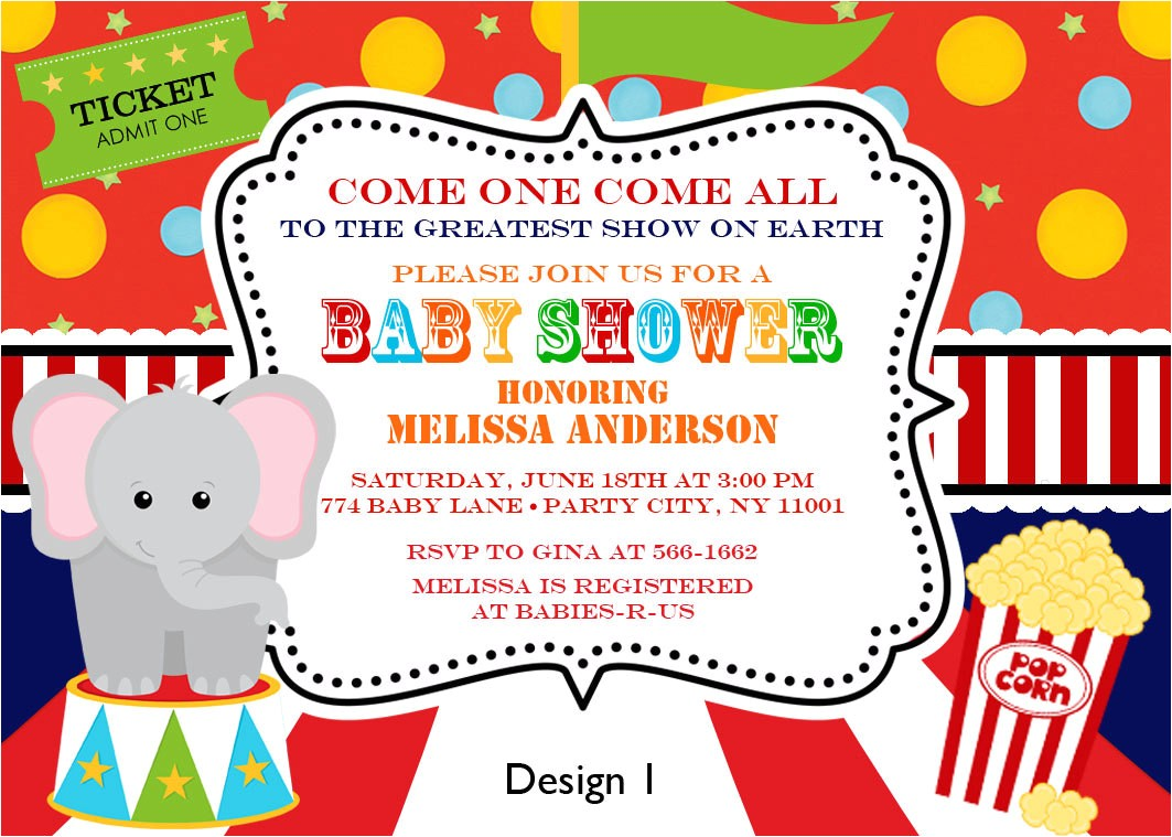 best 10 vintage circus baby shower invitations