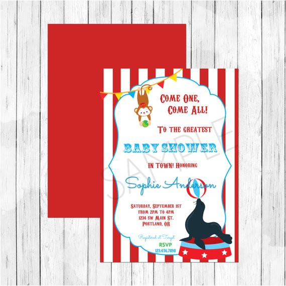 carnival circus themed baby shower invitation circus lion invitation double sided evite