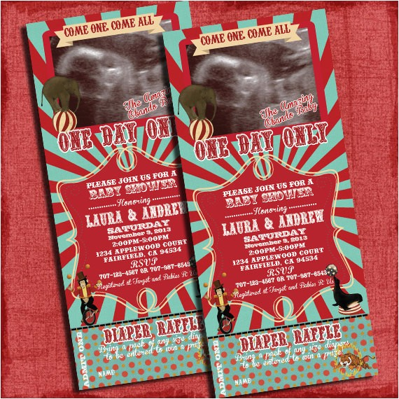 printable circus baby shower 4x6 invitation