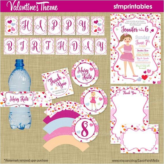valentines day birthday party invitation bundle