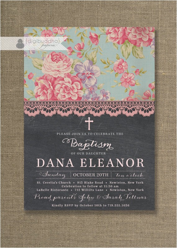 chalkboard lace baptism invitation chic