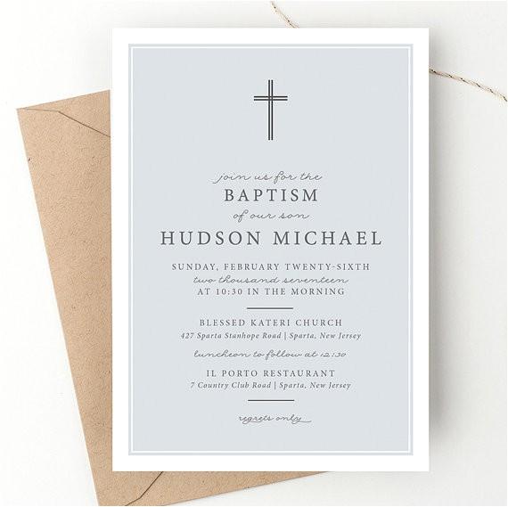 classic bold cross baptism invitation typographic
