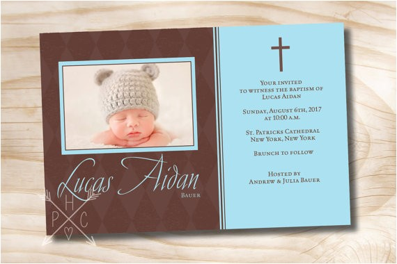 classic diamond photo custom baptism invitation