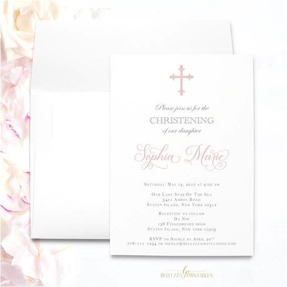 pink baptism invitations elegant girl baptism
