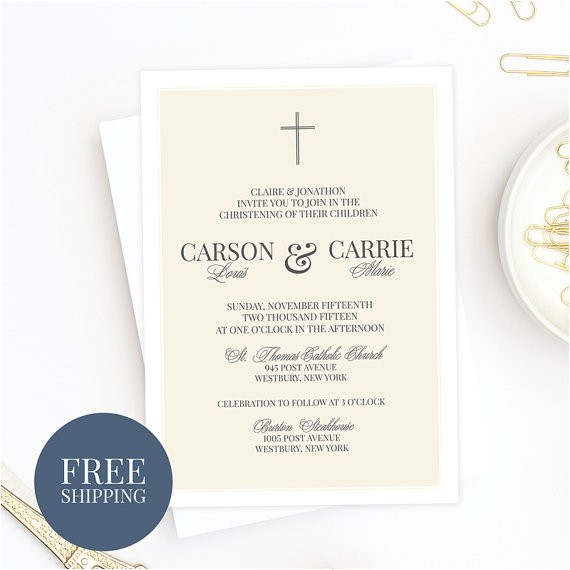 twins baptism invitation christening invitation munion