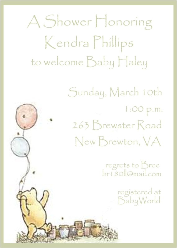 classic winnie the pooh baby shower invitations