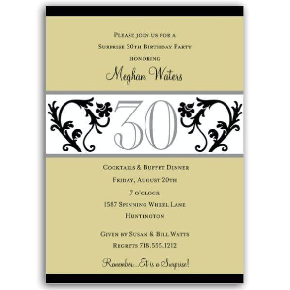 Elegant Vine Chartreuse 30th Birthday Invitations p 604 57 EVC30