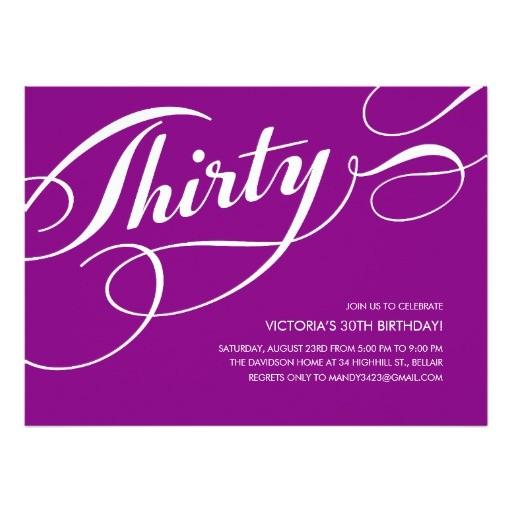purple elegant 30th birthday invitations