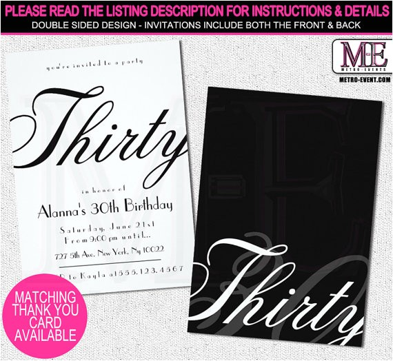Classy 30th Birthday Invitations Classy 30th Birthday Invitations by Metro Designs Graphic
