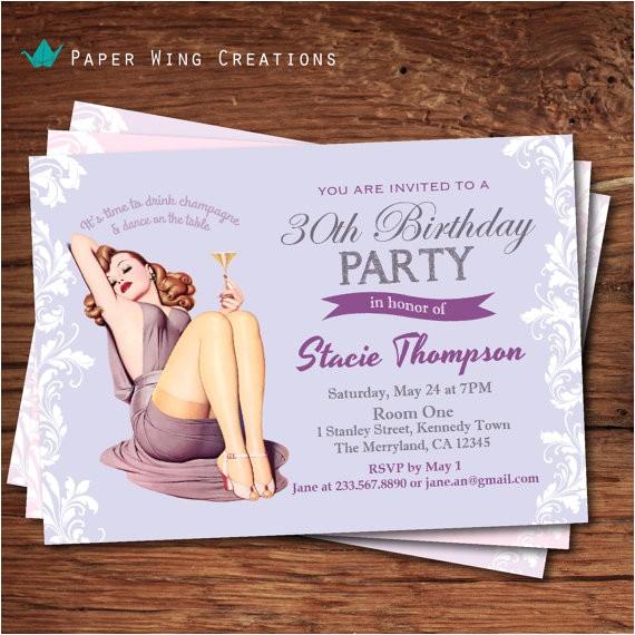 elegant 30th birthday invitation women