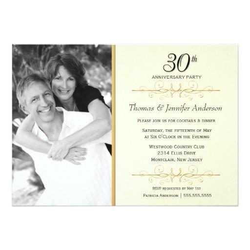 elegant 30th wedding anniversary party invitations