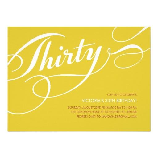 yellow elegant 30th birthday invitations