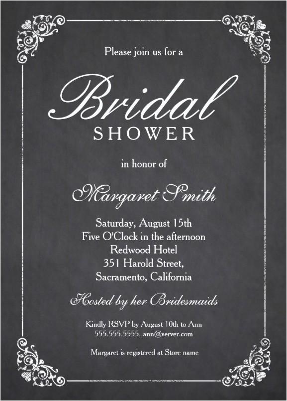 elegant chalkboard bridal shower invitation template