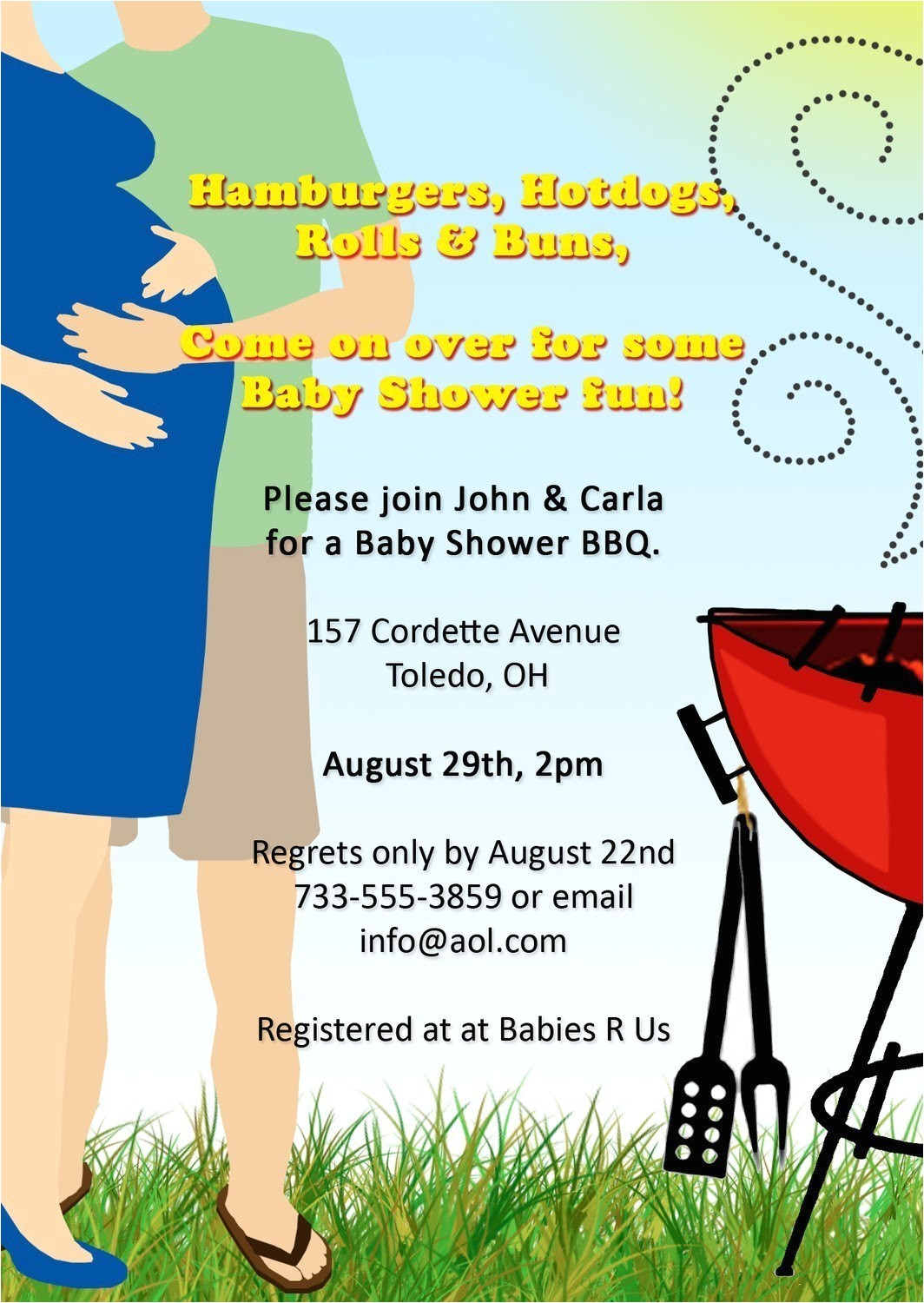 co ed bbq baby shower invitation