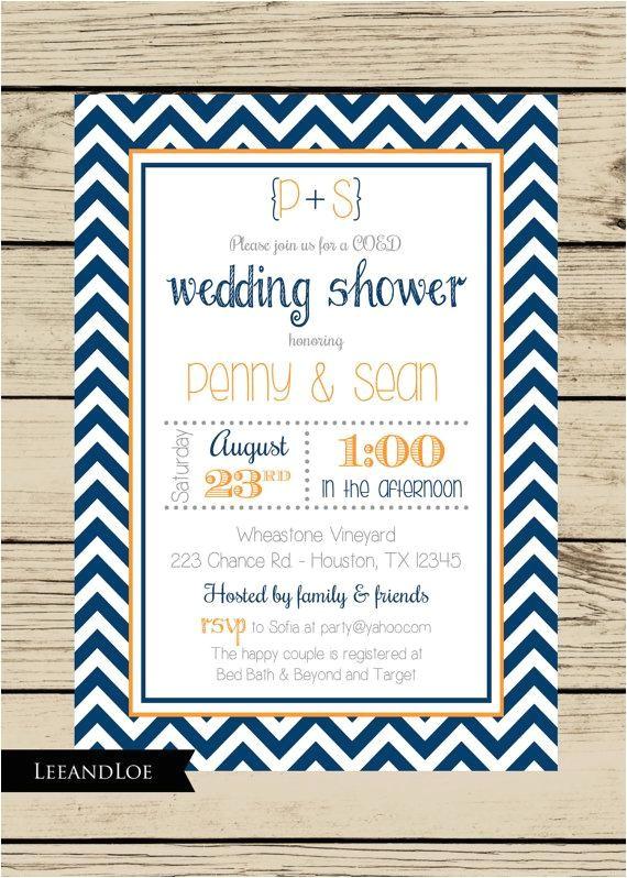 chevron wedding shower invitation couples coed bridal rehearsal navy orange