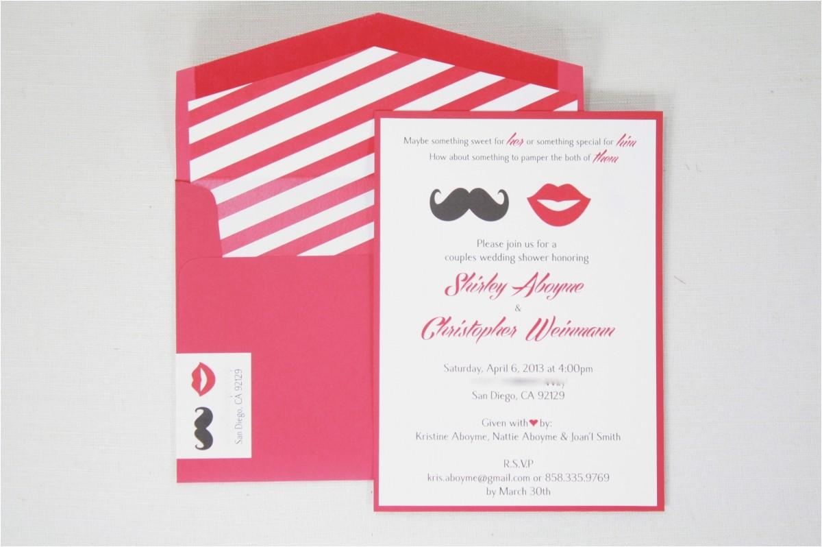 co ed bridal shower invitations mustache lips