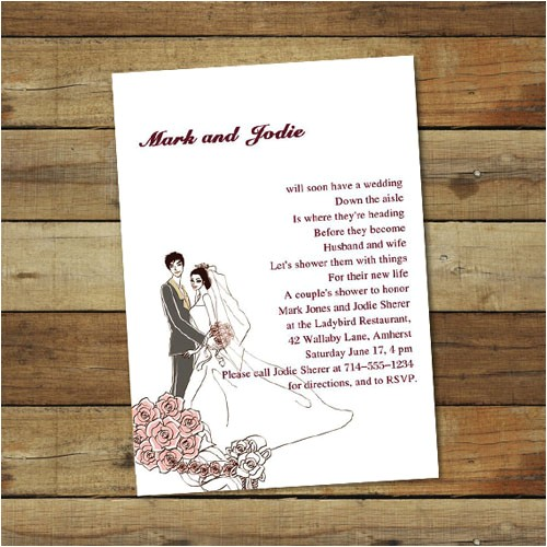 custom pink coed couples wedding shower invitations online ewbs010