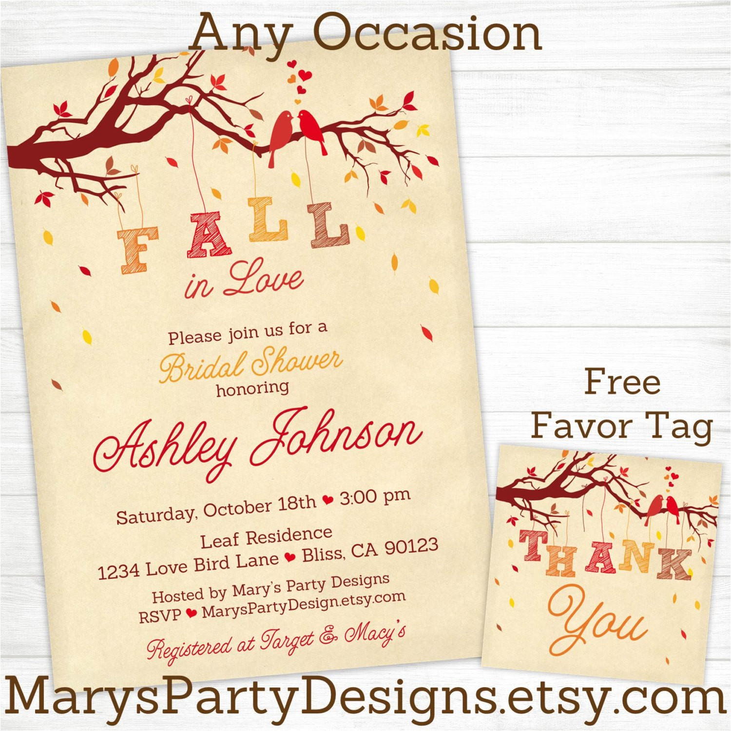 fall in love bridal shower invitations