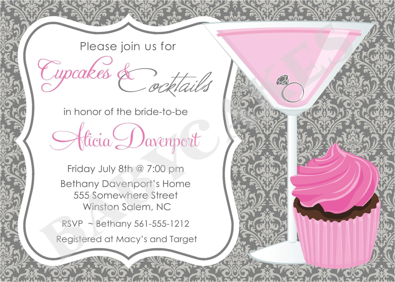 cupcakes and cocktails bridal shower