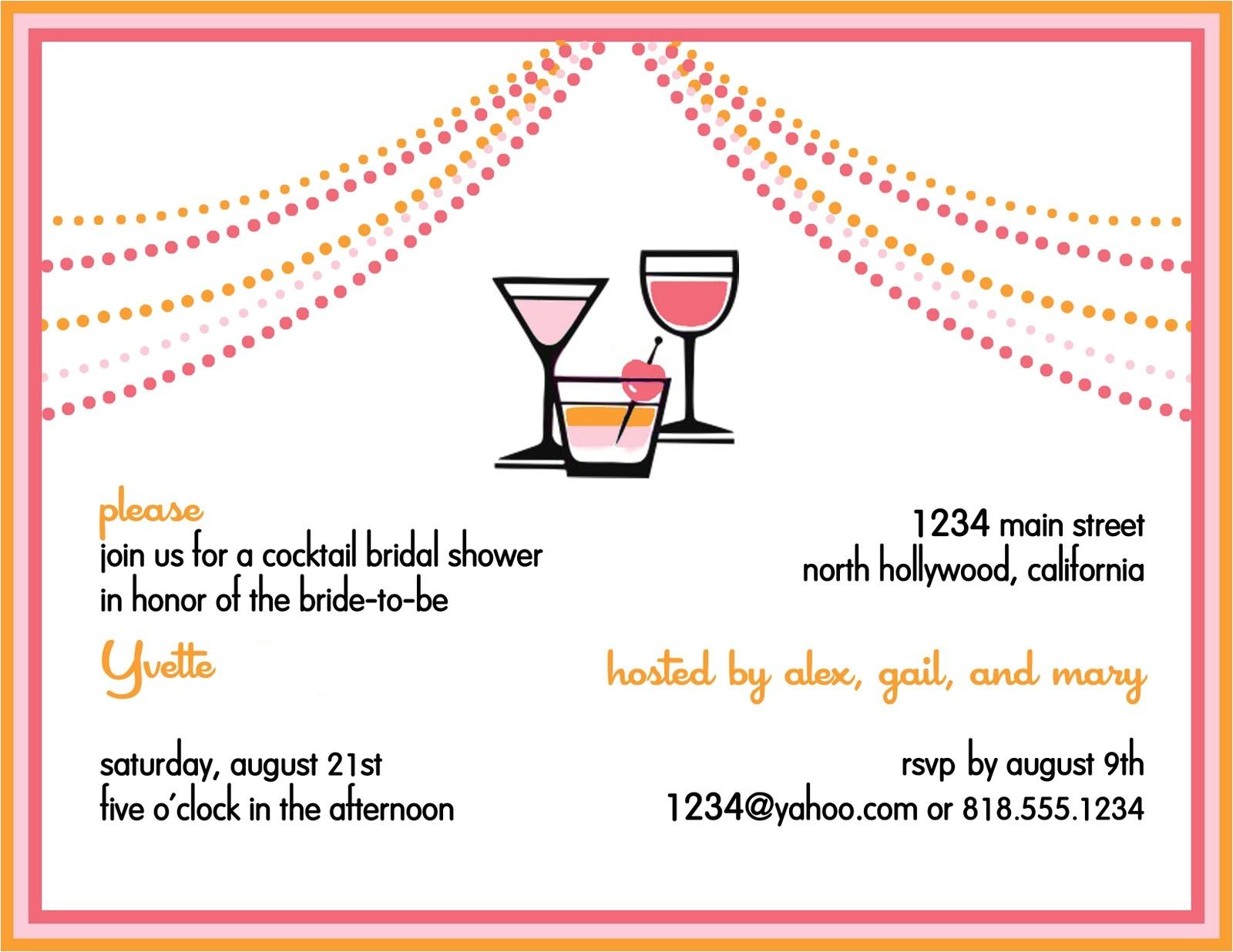 Cocktail Bridal Shower Invitation Wording Wedding Invitations and Baby Shower Invitations Share