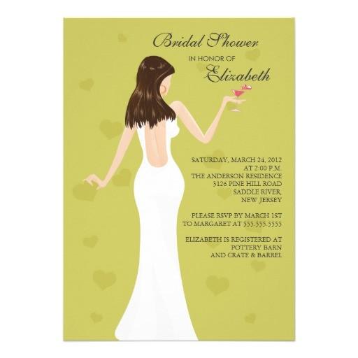 cocktail bride bridal shower invitation chartreuse