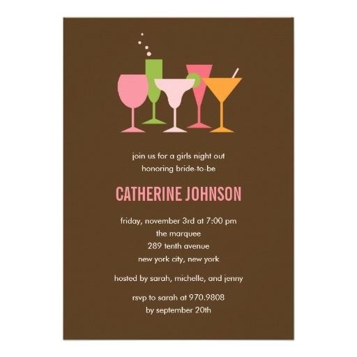 cocktail glasses bachelorette bridal shower invite