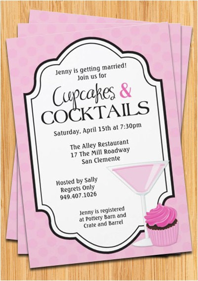 cupcakes cocktails bridal shower invitation
