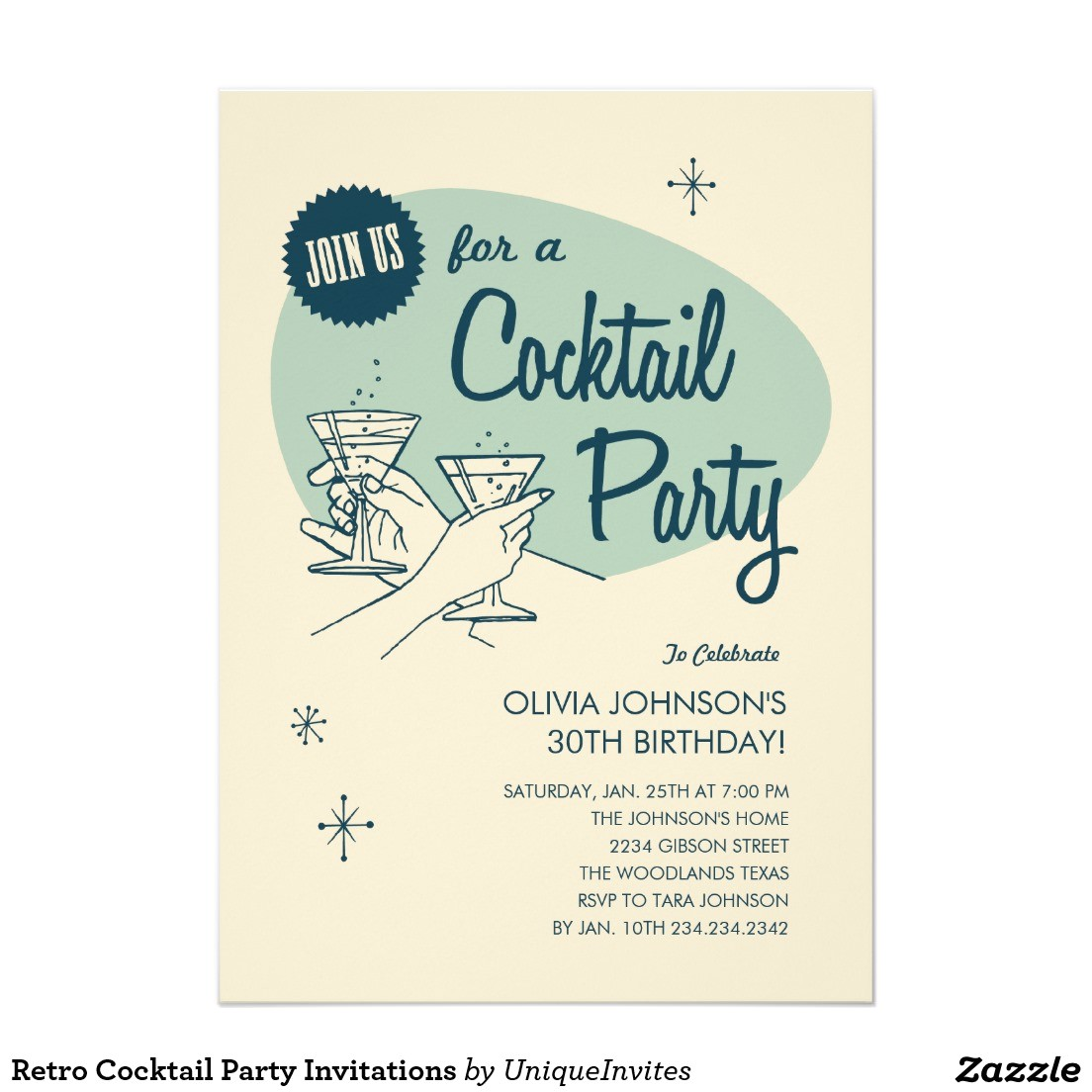classic birthday cocktail party invitation card with beige background color and blue font color