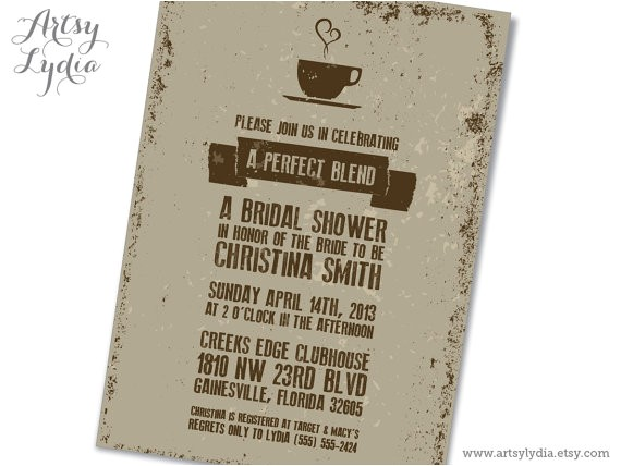bridal shower invitations coffee theme