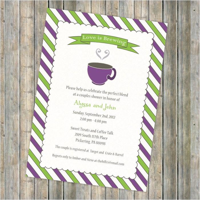 coffee bridal shower invitation tea