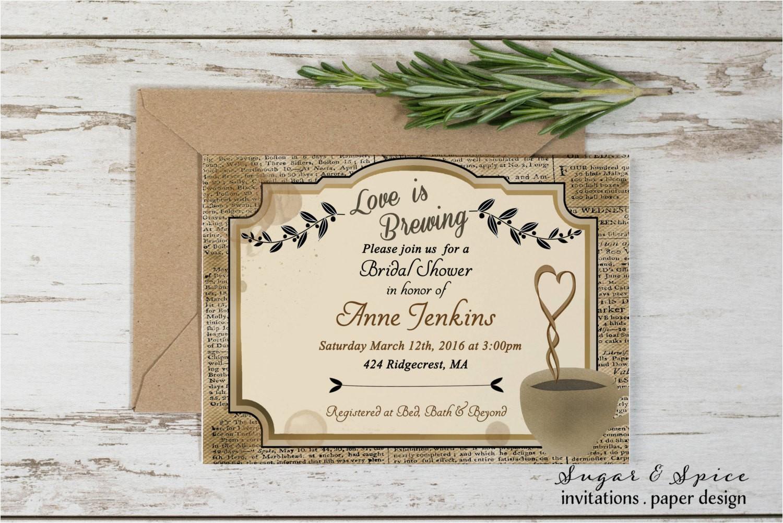 rustic bridal shower invitation coffee