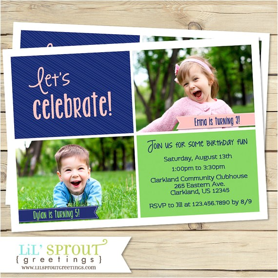 Combined Birthday Party Invitation Wording Joint Birthday Party Invitation Sibling Birthday Invitation