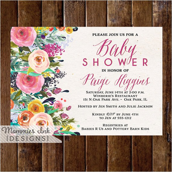 baby shower invitation watercolor flowers invitation 4