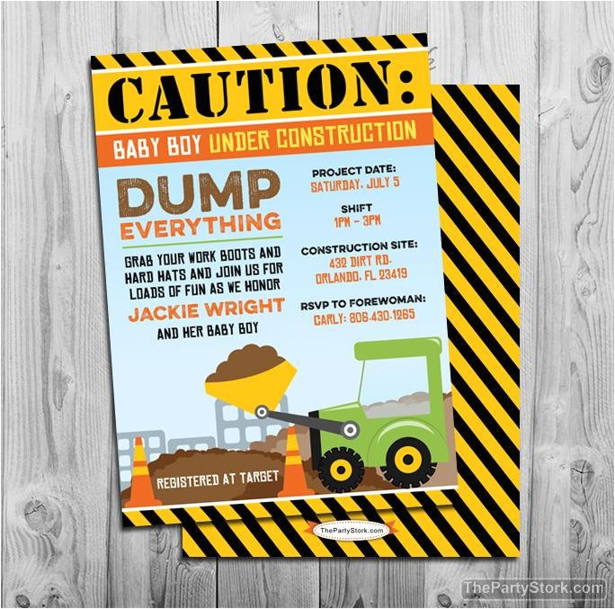 construction baby shower invitation dump