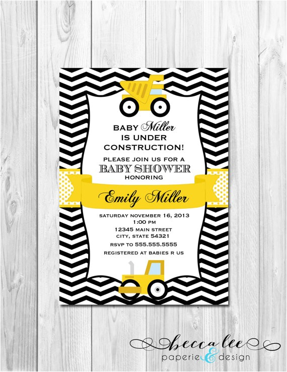 construction baby shower invitation chevron stripes