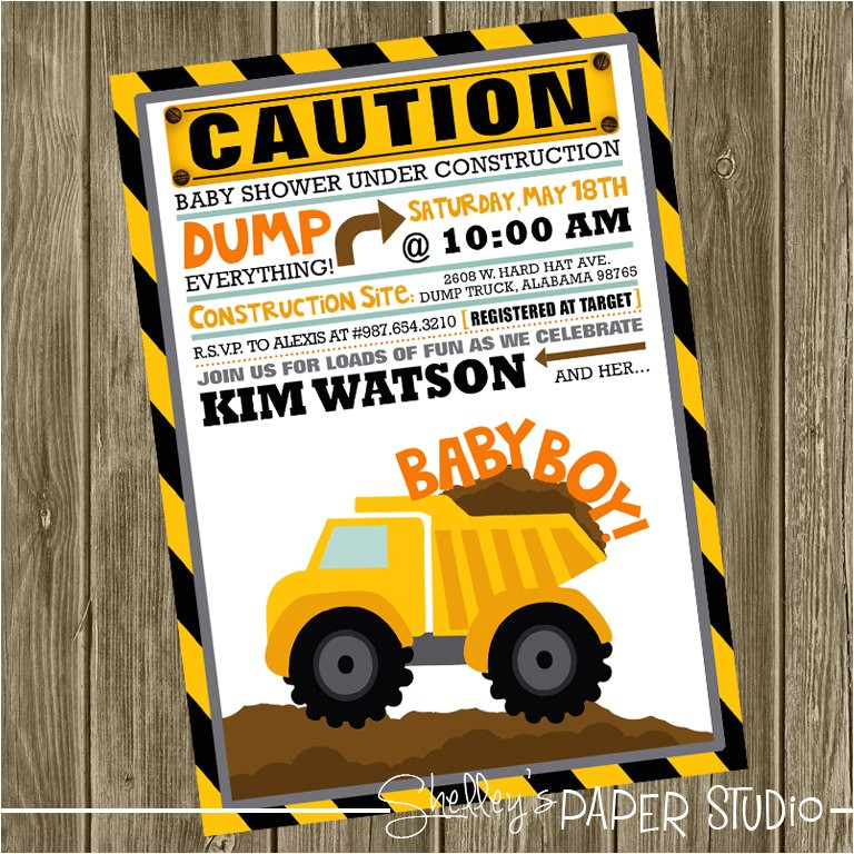 construction baby shower invite