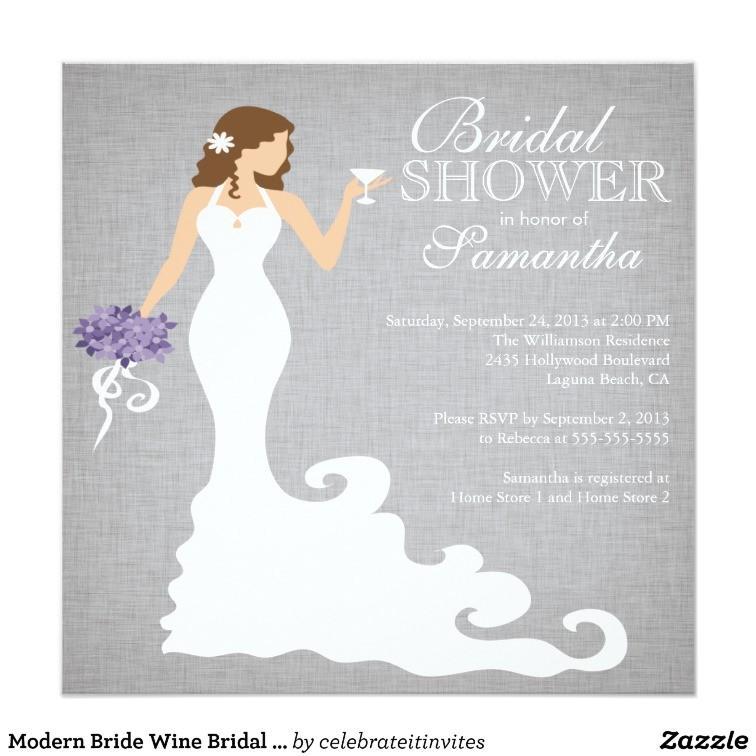 modern bride wine bridal shower invitations