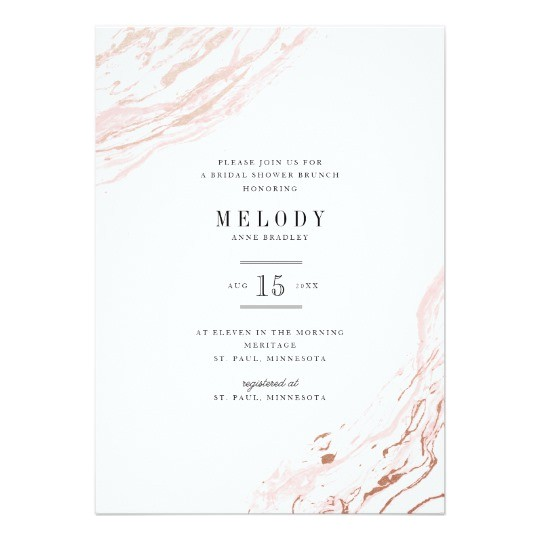 pink marble modern bridal shower invitation